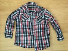 Check Shirt Long Sleeved Collar Red Black White 8 - 9 Years 100% Cotton Child