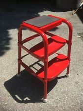 Vintage 1950s? Kitchen Step Stool Retro Mid Century Modern Cosco Bar Chair red