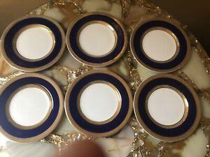 Crown Ducal Cobalt Blue &  Gold Trim  6 Butter Plates England