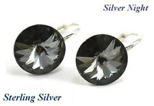 *STERLING SILVER* - RIVOLI - Silver Night Earrings Crystals from Swarovski®