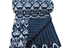 kantha Quilt Black Ikat Indian Cotton Handmade Bedspread Twin Size Gudari