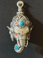 handmade sterling silver Tibetan Ganesha with the power  healing pendent