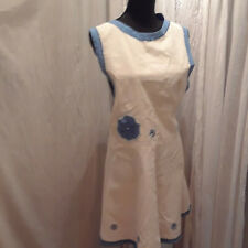 New listing Vintage 20's overall apron off white blue embroidery and trim one size