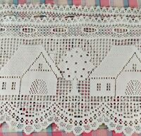 """(2) White Cream Fabric Doilies or Valances - House Cottage Trees ~40X11""""each"""
