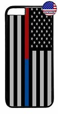 Hard Rubber Case Cover For iPhone 7 6 6s Plus 5s 5c 4 Blue & Red Thin Line Flag