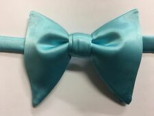Handmade Blue Satin Bow tie Vintage style 70`s Bowtie Pre-tied Adjustable