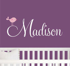 60CM Removable Bird Custom Name Fit Baby Vinyl Wall Paper Decal Art Sticker Q940