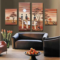 NO Frame / 4PC Pure Hand-painted Oil Painting African landscape Wall Art