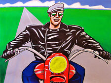 THE WILD ONE PAINTING motorcycle jacket marlon brando triumph thunderbird harley