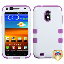 Samsung Galaxy S2 D710 (Sprint/Verizon) -Purple White Hard&Soft Armor Case Cover