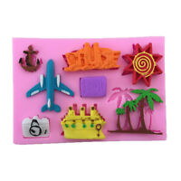 aeroplane palm tree silicone mold fondant mould cake decorating tools RS