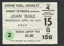 Original 1973 Joan Baez concert ticket stub Wembley UK Diamonds & Rust