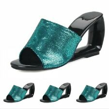 Womens Peep Toe Wedge Heel Leather Casual Platform Shoes Slippers Sandals Date
