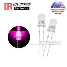 100pcs 5mm LED Diodes Water Clear Pink Light Transparent Round Top USA