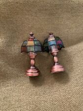 Dollhouse Miniature LED Bronze Tiffany Table Lamp -Set Of 2- NOT WORKING