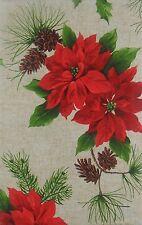 Elrene Christmas Poinsettias Pine Cones vinyl flannel back tablecloth 52 x 90