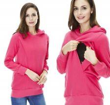 Maternity & Nursing Breastfeeding Warm Casual Hoody Jumper, Pullover Pink 14