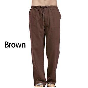 Casual Men's Drawstring Straight Pants Loose Cotton Linen Trousers Beach Pants