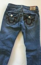 True Religion Rainbow Billy Distressed Straight Leg Low Rise Jeans size 24