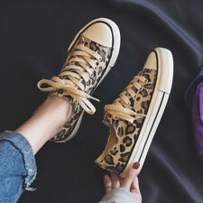 Women Lace Up Round Toe Leopard Casual Flat Canvas Shoes Sports Fashion Sneakers