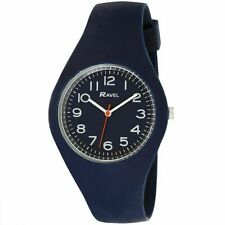 Men's Watch smooth comfort fit Silicone Strap, Easy Ready Numbers & Dial Navy