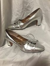 Stunning Rare! Vintage Womens 1940s-1950s Silver Heels Size 9Aa by mr Seymour