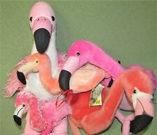 PINK FLAMINGO Plush Lot FAO Schwarz WILD REPUBLIC Aurora BABW Dan Dee BIRDS Toys