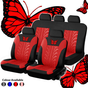 9Pcs Butterfly-Pattern Embroidery Car Front Rear Full Set Seat Covers 4-Seasons