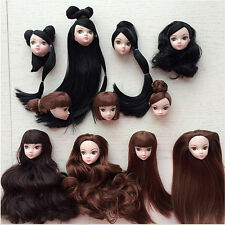 Kids Toy Doll Head with Hair DIY Accessories For 1/6 BJD Barbie Doll NJ