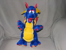 "GANZ STUFFED PLUSH DRAGON BLUE RED YELLOW 13"" PRIMARY COLORS"