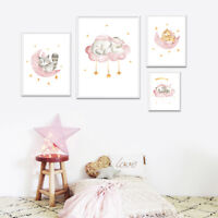 Woodland Animal Canvas Print Cartoon Nursery Poster Painting Baby Room Decor