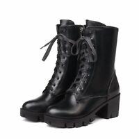 Damen Boots Blockabsatz Schuhe PU Leder Hoher Abstaz Punk Stiefel Gr.43 44 45 46