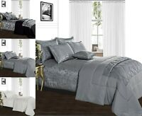 Luxury 3 Piece Jacquard Bedspread Throw Quilted Comforter Set Single Double King