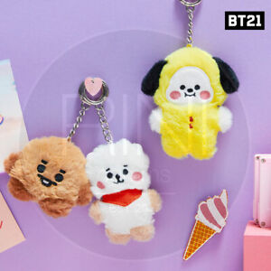 BTS BT21 Official Authentic Goods BABY Flat Fur Series Standing Keyring + Track