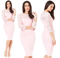 Goddess Pink Scalloped Lace Fitted Marcella Cocktail Evening Party Dress