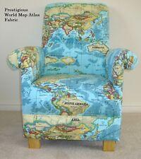 Kids Chair Blue Armchair Prestigious Atlas Azure Fabric Countries World Children