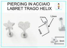 Piercing Labbra Labret Trago Helix Acciaio Stella Cuore Satinato
