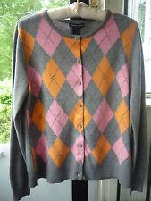 New York & Company Gray Argyle Cardigan Sweater~Rhinestone Buttons~Sz XL~NICE!
