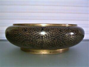 Chinese Bronze Black Gold Cloisonné Bowl Censer