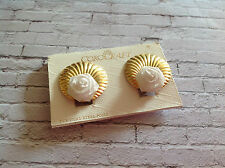 Vintage gold tone clam shell shape COROCRAFT earrings with white roses