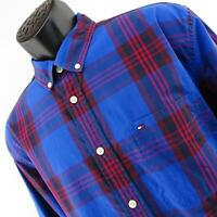 Mens Tommy Hilfiger Classic Fit Casual Dress Shirt Size Large Blue Red Plaids