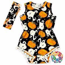 Kid Girl Baby Witch Pumpkin Cat Party Halloween Costume Romper headband set PROP