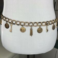 "Gold Tone Chain Belt Coins Dangle Charms Tassels Ornate S 34"" Anodized Metal"