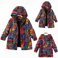 Womens Winter Warm Outwear Floral Print Hooded Pockets Vintage Oversize Coats AU