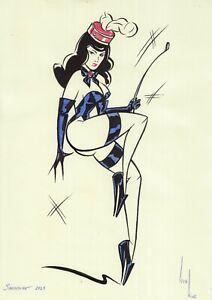 original drawing A4 539KV Illustration Art samovar marker woman sketch Signed