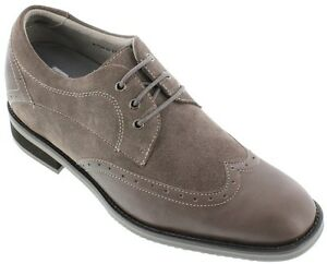 TOTO X33512- 2.8 Inches Elevator Height Increase Wing Tip Dress Shoe Grey