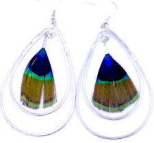 Large silver drop with peacock eye feather dangle earrings