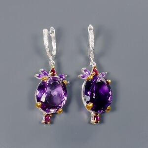 Amethyst Earrings Silver 925 Sterling IF Quality GEM 45 ct+  /E41745