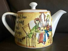 "Lovely ""Born To Shop"" Johnson Brothers Stoneware Teapot in Excellent Condition"