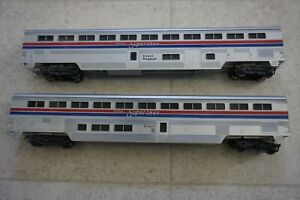 Lot of 2 Passenger Train Baggage Car Coach ~ Amtrak ~ Super-Liner - HO